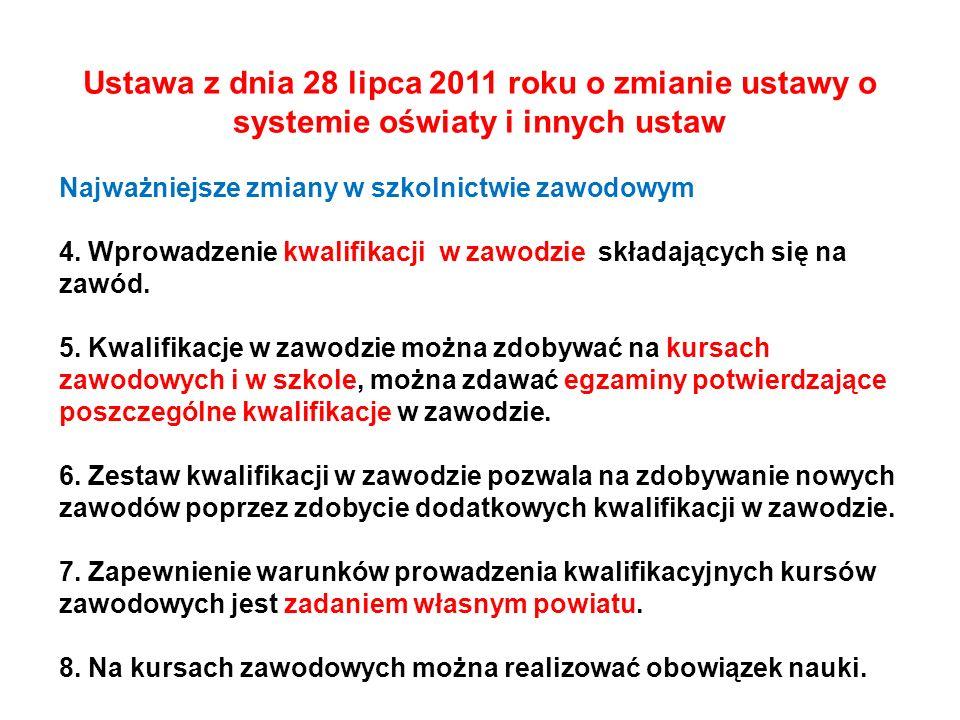 Ustawa z dnia 28 lipca 2011 roku o zmianie ustawy o systemie oświaty i innych ustaw Najważniejsze zmiany w szkolnictwie zawodowym 4. Wprowadzenie kwal
