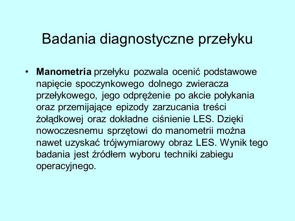 Badania diagnostyczne przełyku Manometria przełyku pozwala ocenić podstawowe napięcie spoczynkowego dolnego zwieracza przełykowego, jego odprężenie po akcie połykania oraz przemijające epizody zarzucania treści żołądkowej oraz dokładne ciśnienie LES.