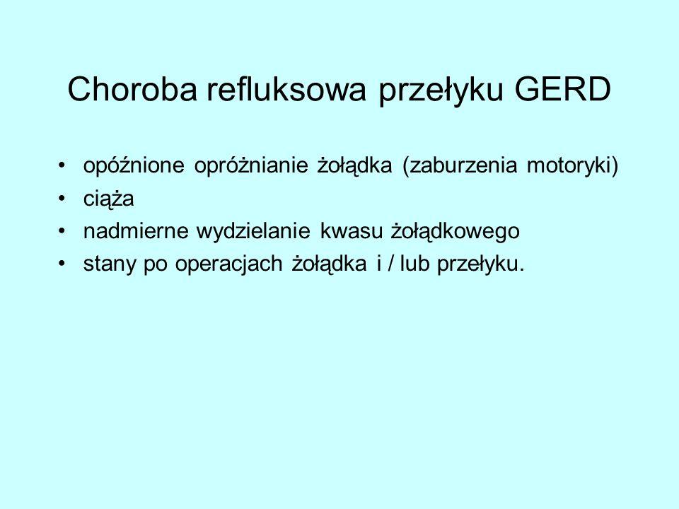 Choroba refluksowa przełyku GERD opóźnione opróżnianie żołądka (zaburzenia motoryki) ciąża nadmierne wydzielanie kwasu żołądkowego stany po operacjach żołądka i / lub przełyku.