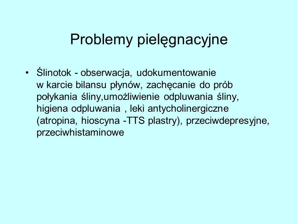 Problemy pielęgnacyjne Ślinotok - obserwacja, udokumentowanie w karcie bilansu płynów, zachęcanie do prób połykania śliny,umożliwienie odpluwania śliny, higiena odpluwania, leki antycholinergiczne (atropina, hioscyna -TTS plastry), przeciwdepresyjne, przeciwhistaminowe
