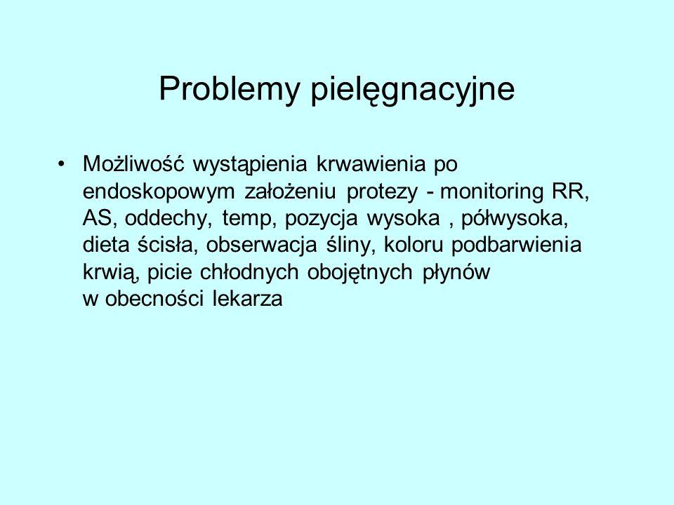Problemy pielęgnacyjne Możliwość wystąpienia krwawienia po endoskopowym założeniu protezy - monitoring RR, AS, oddechy, temp, pozycja wysoka, półwysoka, dieta ścisła, obserwacja śliny, koloru podbarwienia krwią, picie chłodnych obojętnych płynów w obecności lekarza