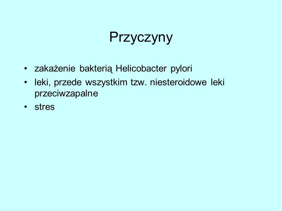 Przyczyny zakażenie bakterią Helicobacter pylori leki, przede wszystkim tzw.
