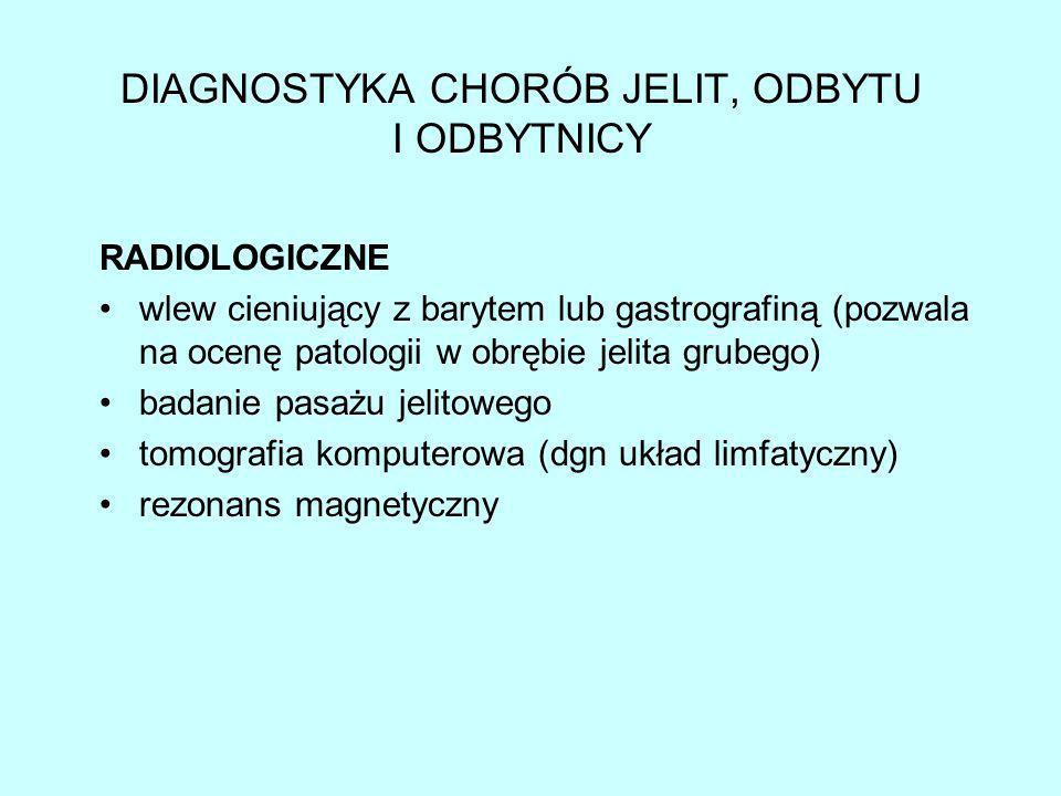 DIAGNOSTYKA CHORÓB JELIT, ODBYTU I ODBYTNICY ENDOSKOPOWE anoskopia (wziernikowania odbytnicy) rektosigmoidoskopia (wziernikowanie odbytnicy i okrężnicy esowatej) kolonoskopia (wykonywane w diagnostyce całego jelita grubego aż po zastawkę Bauhina)