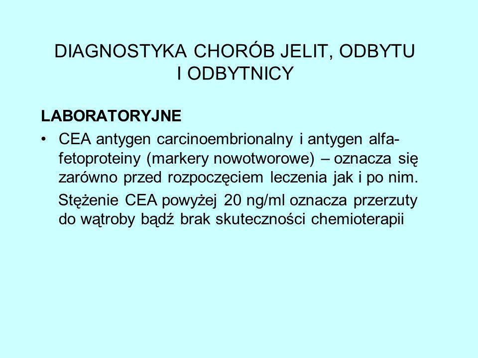 DIAGNOSTYKA CHORÓB JELIT, ODBYTU I ODBYTNICY badanie kału na krew utajoną (test dostępny w aptece) oznaczenie enzymów wątrobowych, poziomu cholesterolu, wapnia, żelaza (dla oznaczenia stopnia niedokrwistości z niedoboru żelaza w wyniku przewlekłego krwawienia)