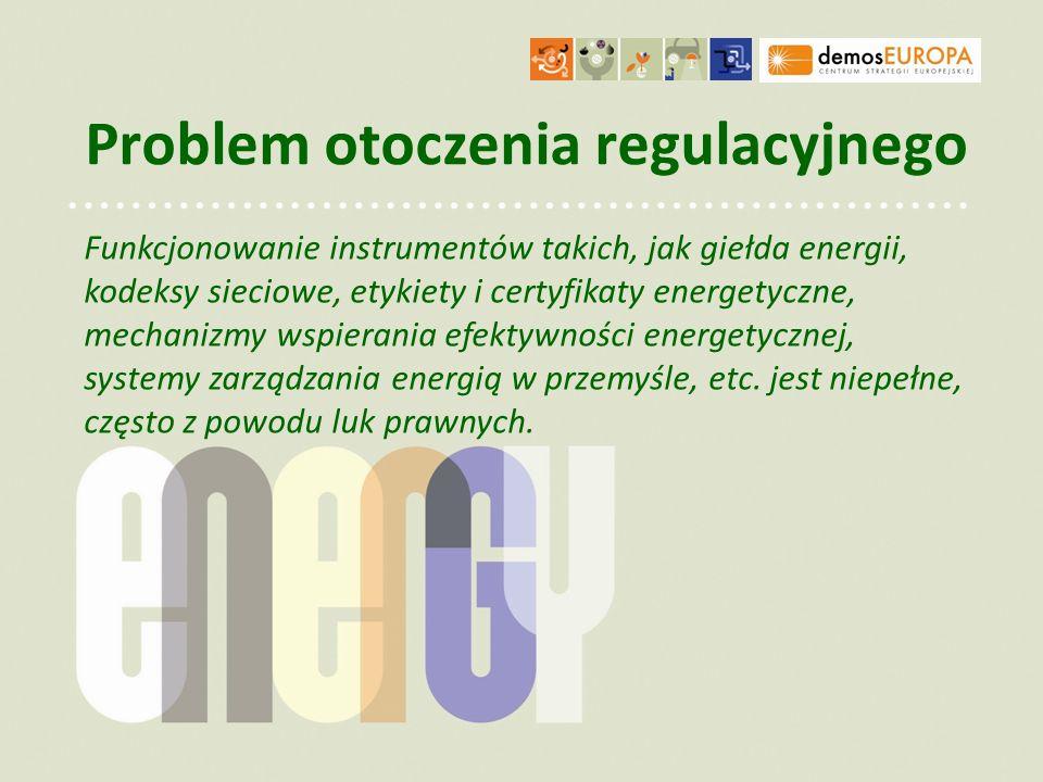 Problem otoczenia regulacyjnego Funkcjonowanie instrumentów takich, jak giełda energii, kodeksy sieciowe, etykiety i certyfikaty energetyczne, mechani