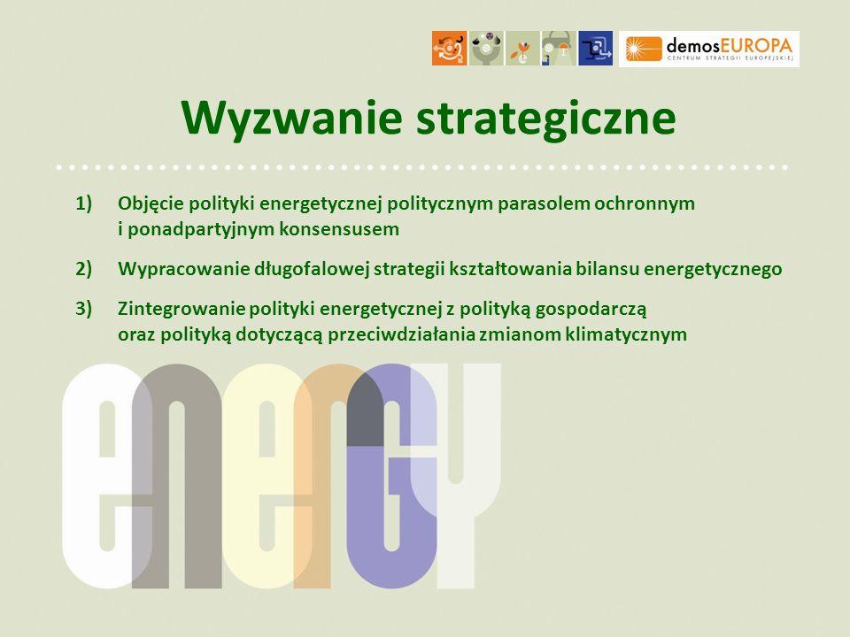 Wyzwanie strategiczne 1)Objęcie polityki energetycznej politycznym parasolem ochronnym i ponadpartyjnym konsensusem 2)Wypracowanie długofalowej strate