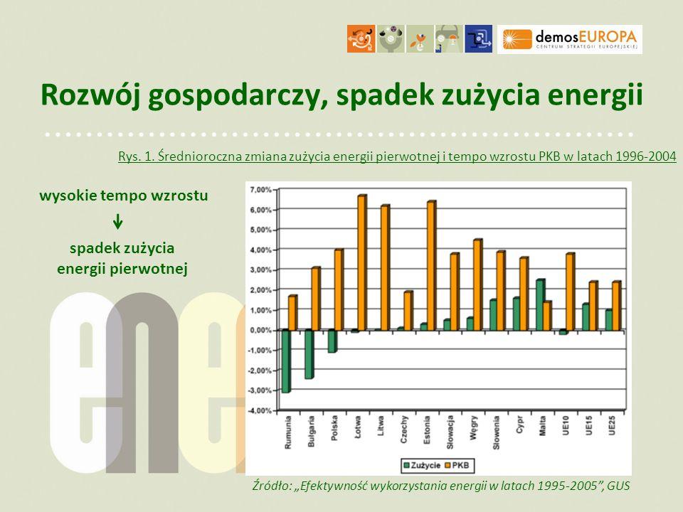 Zmiana struktury zużycia Zmiana struktury zużycia - pochodna kierunków rozwoju gospodarki Źródło: Efektywność wykorzystania energii w latach 1995-2005, GUS Rys.