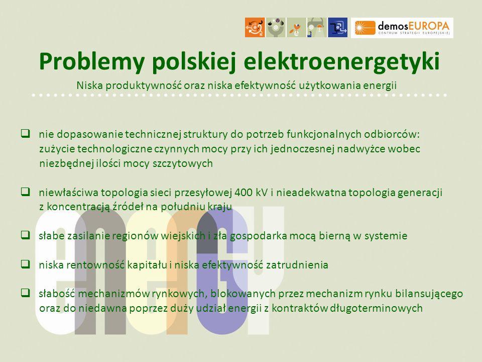Problemy polskiej elektroenergetyki Niska produktywność oraz niska efektywność użytkowania energii nie dopasowanie technicznej struktury do potrzeb fu