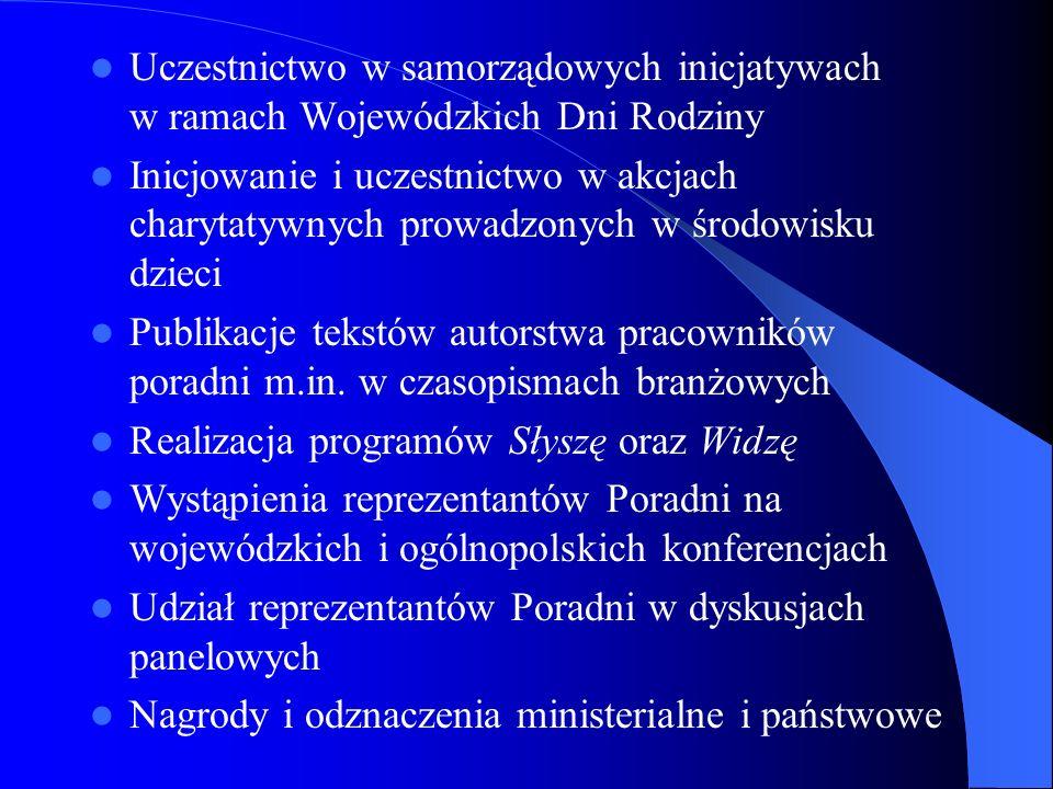Uczestnictwo w samorządowych inicjatywach w ramach Wojewódzkich Dni Rodziny Inicjowanie i uczestnictwo w akcjach charytatywnych prowadzonych w środowi