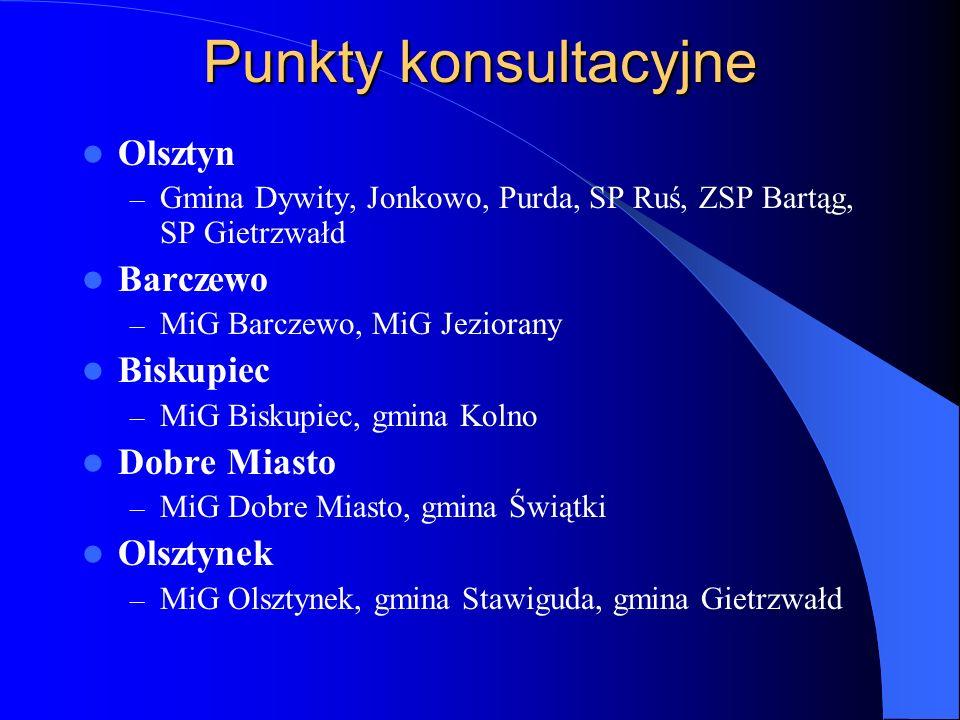 Punkty konsultacyjne Olsztyn – Gmina Dywity, Jonkowo, Purda, SP Ruś, ZSP Bartąg, SP Gietrzwałd Barczewo – MiG Barczewo, MiG Jeziorany Biskupiec – MiG