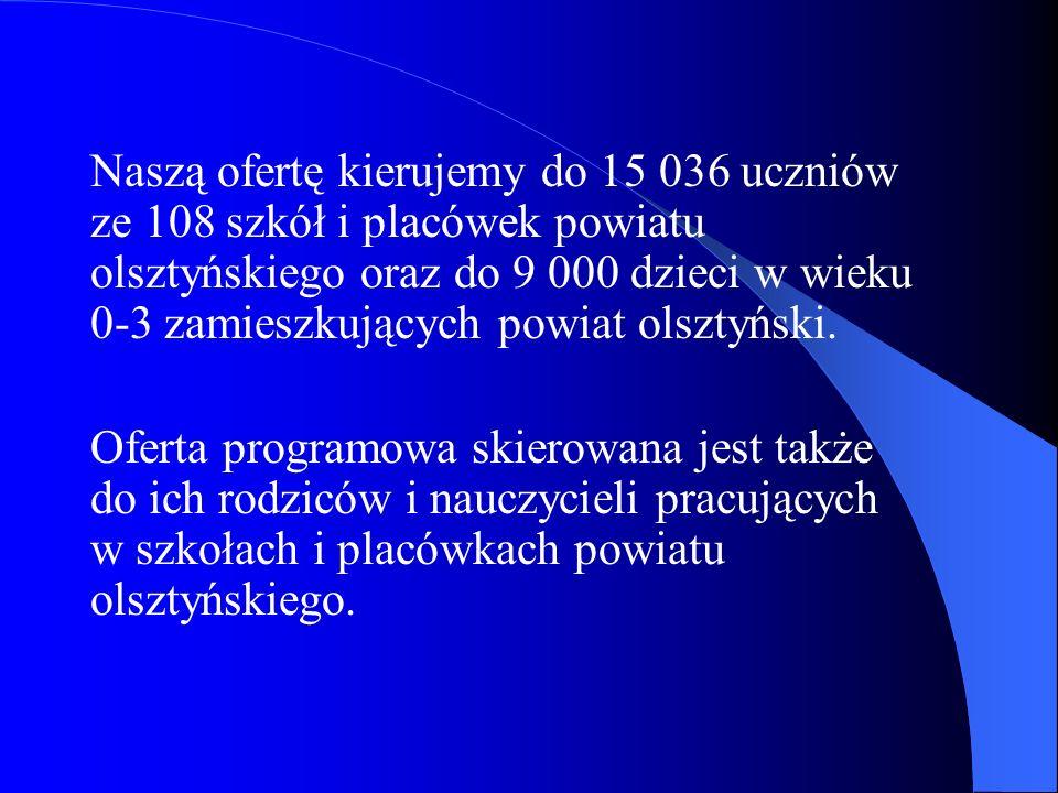 Naszą ofertę kierujemy do 15 036 uczniów ze 108 szkół i placówek powiatu olsztyńskiego oraz do 9 000 dzieci w wieku 0-3 zamieszkujących powiat olsztyń