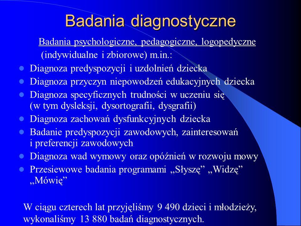 Badania diagnostyczne Badania psychologiczne, pedagogiczne, logopedyczne (indywidualne i zbiorowe) m.in.: Diagnoza predyspozycji i uzdolnień dziecka D