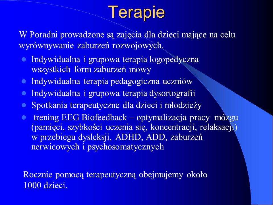 Terapie Indywidualna i grupowa terapia logopedyczna wszystkich form zaburzeń mowy Indywidualna terapia pedagogiczna uczniów Indywidualna i grupowa ter