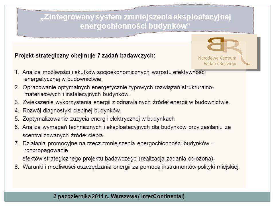 Zintegrowany system zmniejszenia eksploatacyjnej energochłonności budynków Projekt strategiczny obejmuje 7 zadań badawczych: 1. Analiza możliwości i s