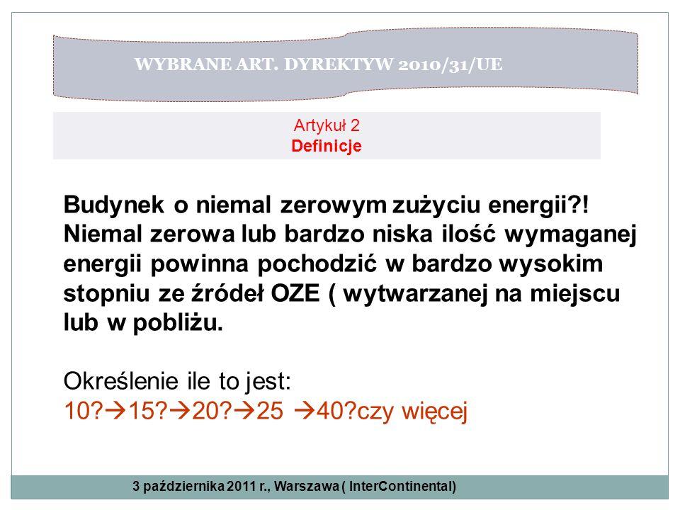 WYBRANE ART. DYREKTYW 2010/31/UE Artykuł 2 Definicje Budynek o niemal zerowym zużyciu energii?! Niemal zerowa lub bardzo niska ilość wymaganej energii
