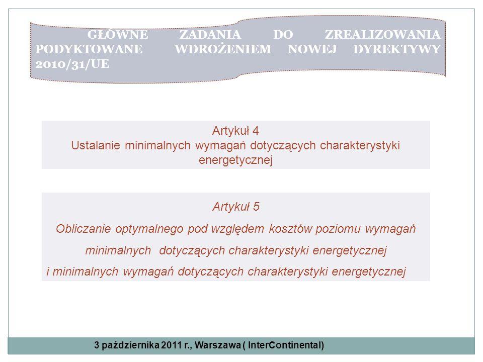 GŁÓWNE ZADANIA DO ZREALIZOWANIA PODYKTOWANE WDROŻENIEM NOWEJ DYREKTYWY 2010/31/UE Artykuł 4 Ustalanie minimalnych wymagań dotyczących charakterystyki