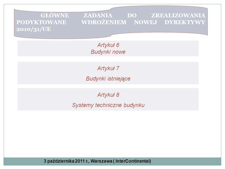 GŁÓWNE ZADANIA DO ZREALIZOWANIA PODYKTOWANE WDROŻENIEM NOWEJ DYREKTYWY 2010/31/UE Artykuł 6 Budynki nowe Artykuł 7 Budynki istniejące Artykuł 8 System
