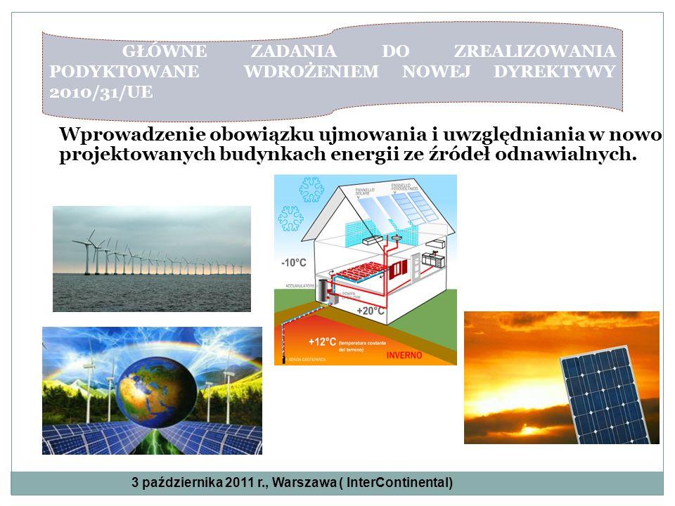 Wprowadzenie obowiązku ujmowania i uwzględniania w nowo projektowanych budynkach energii ze źródeł odnawialnych. == GŁÓWNE ZADANIA DO ZREALIZOWANIA PO