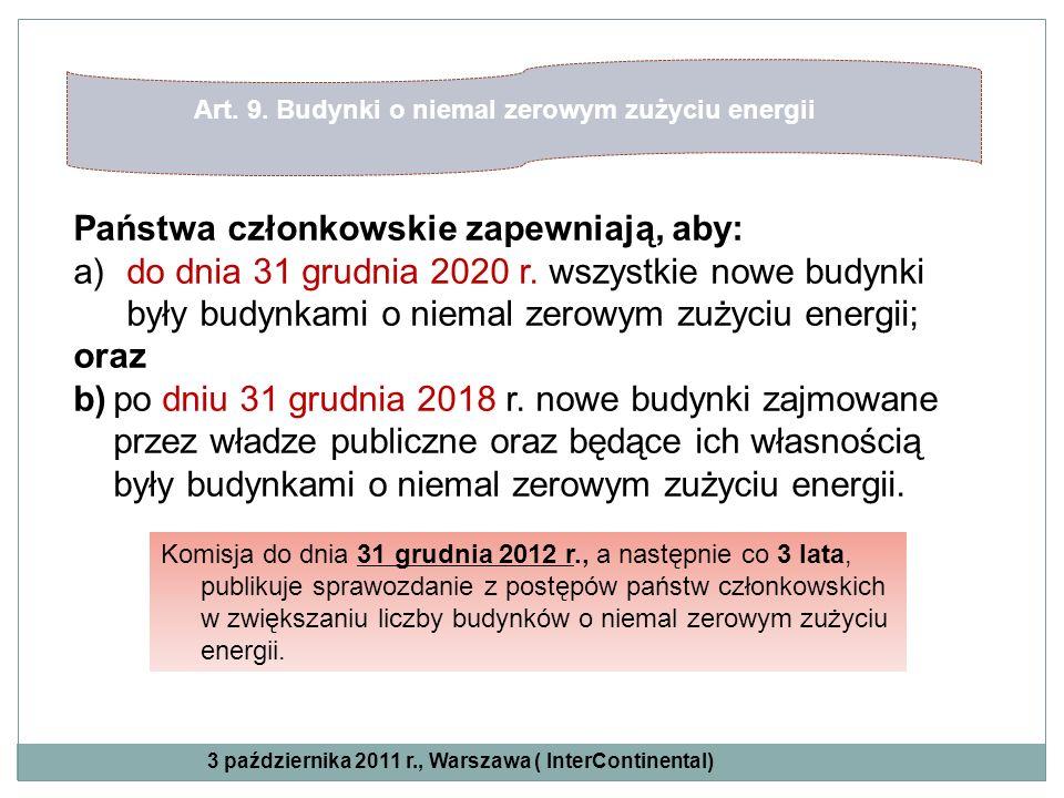 Państwa członkowskie zapewniają, aby: a)do dnia 31 grudnia 2020 r. wszystkie nowe budynki były budynkami o niemal zerowym zużyciu energii; oraz b)po d
