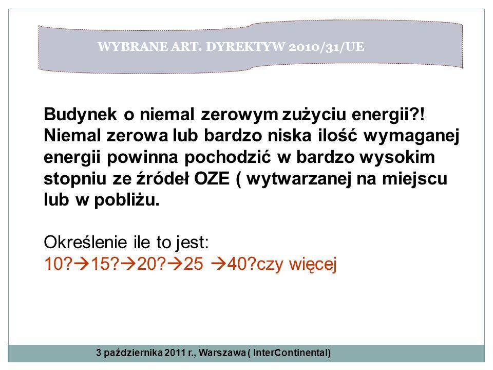 WYBRANE ART. DYREKTYW 2010/31/UE Budynek o niemal zerowym zużyciu energii?! Niemal zerowa lub bardzo niska ilość wymaganej energii powinna pochodzić w