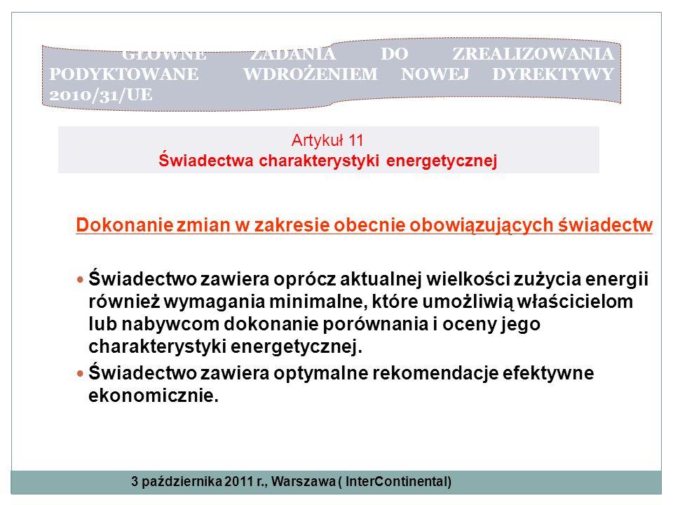 GŁÓWNE ZADANIA DO ZREALIZOWANIA PODYKTOWANE WDROŻENIEM NOWEJ DYREKTYWY 2010/31/UE Artykuł 11 Świadectwa charakterystyki energetycznej Dokonanie zmian
