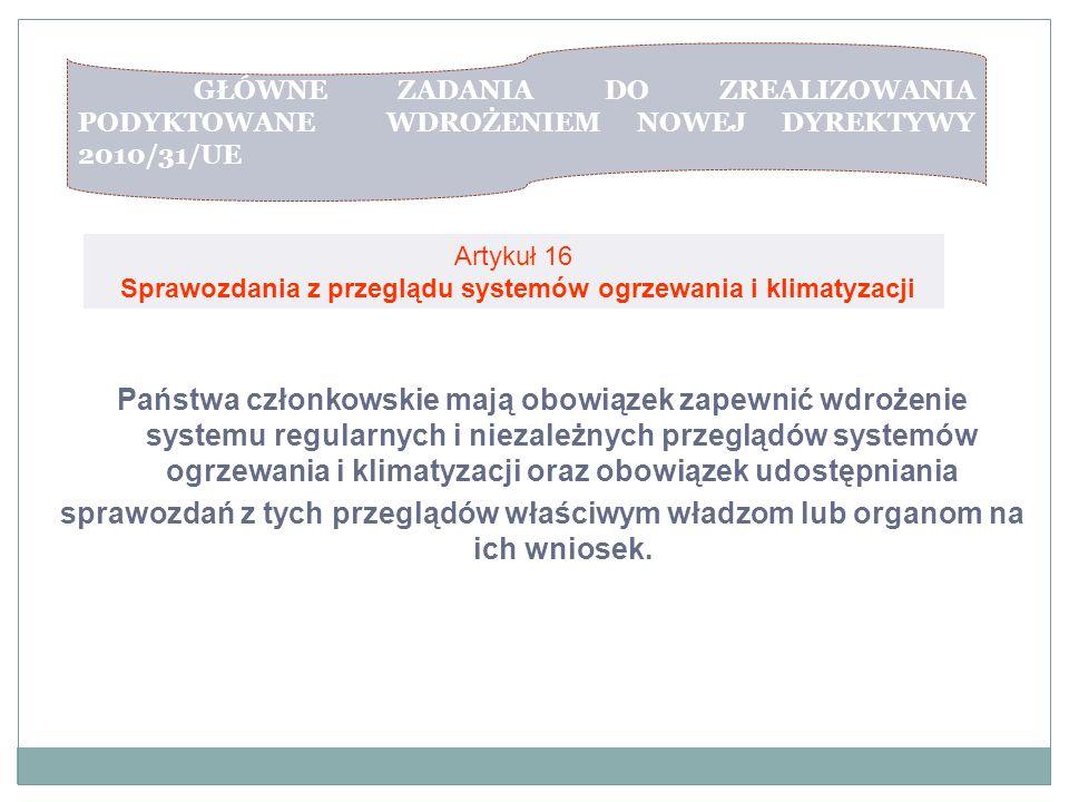 GŁÓWNE ZADANIA DO ZREALIZOWANIA PODYKTOWANE WDROŻENIEM NOWEJ DYREKTYWY 2010/31/UE Artykuł 15 Artykuł 16 Sprawozdania z przeglądu systemów ogrzewania i