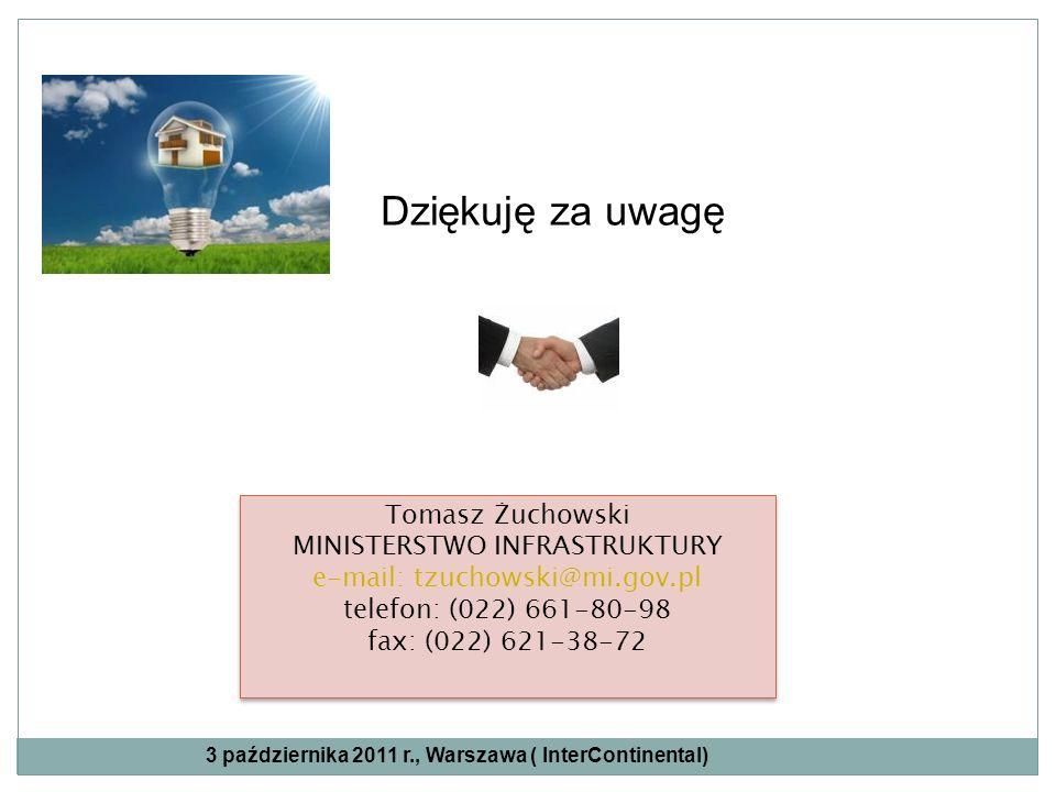 Dziękuję za uwagę Tomasz Żuchowski MINISTERSTWO INFRASTRUKTURY e-mail: tzuchowski@mi.gov.pl telefon: (022) 661-80-98 fax: (022) 621-38-72 Tomasz Żucho