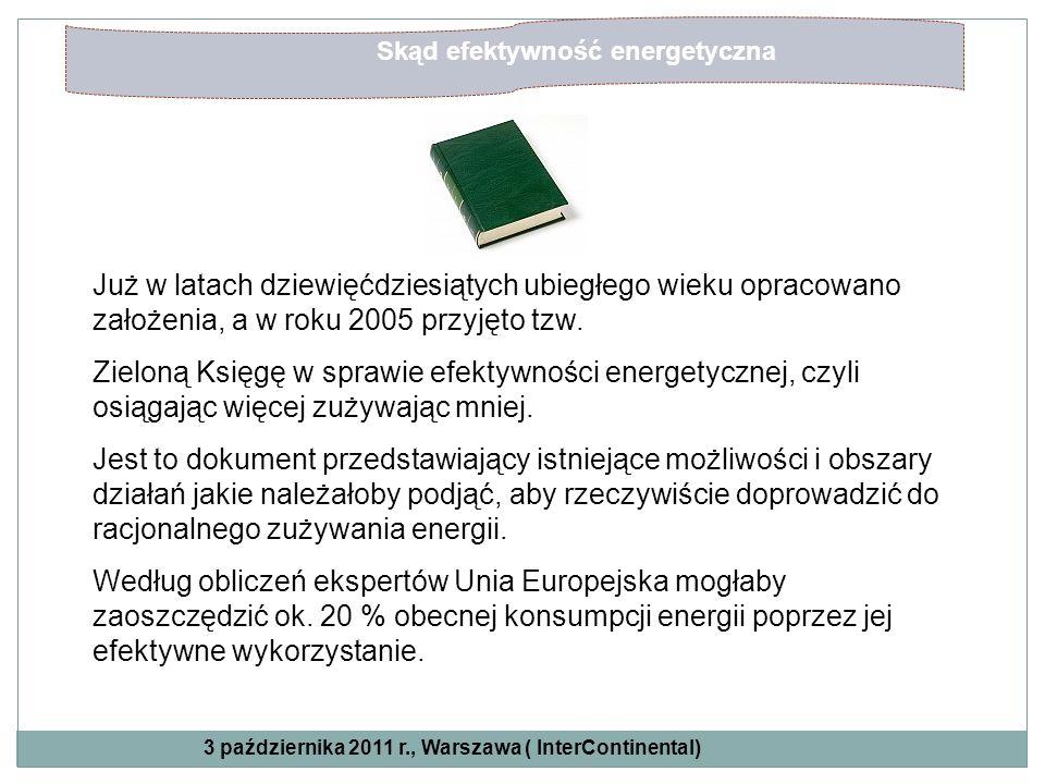 Skąd efektywność energetyczna Już w latach dziewięćdziesiątych ubiegłego wieku opracowano założenia, a w roku 2005 przyjęto tzw. Zieloną Księgę w spra
