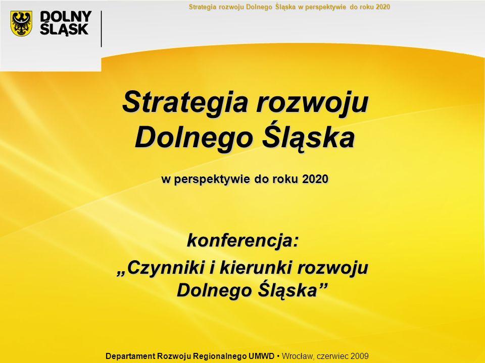 Strategia rozwoju Dolnego Śląska w perspektywie do roku 2020 konferencja: Czynniki i kierunki rozwoju Dolnego Śląska Departament Rozwoju Regionalnego
