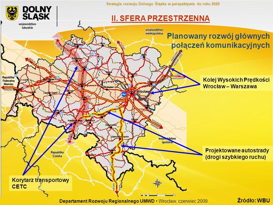 Planowany rozwój głównych połączeń komunikacyjnych Korytarz transportowy CETC Projektowane autostrady (drogi szybkiego ruchu) Kolej Wysokich Prędkości