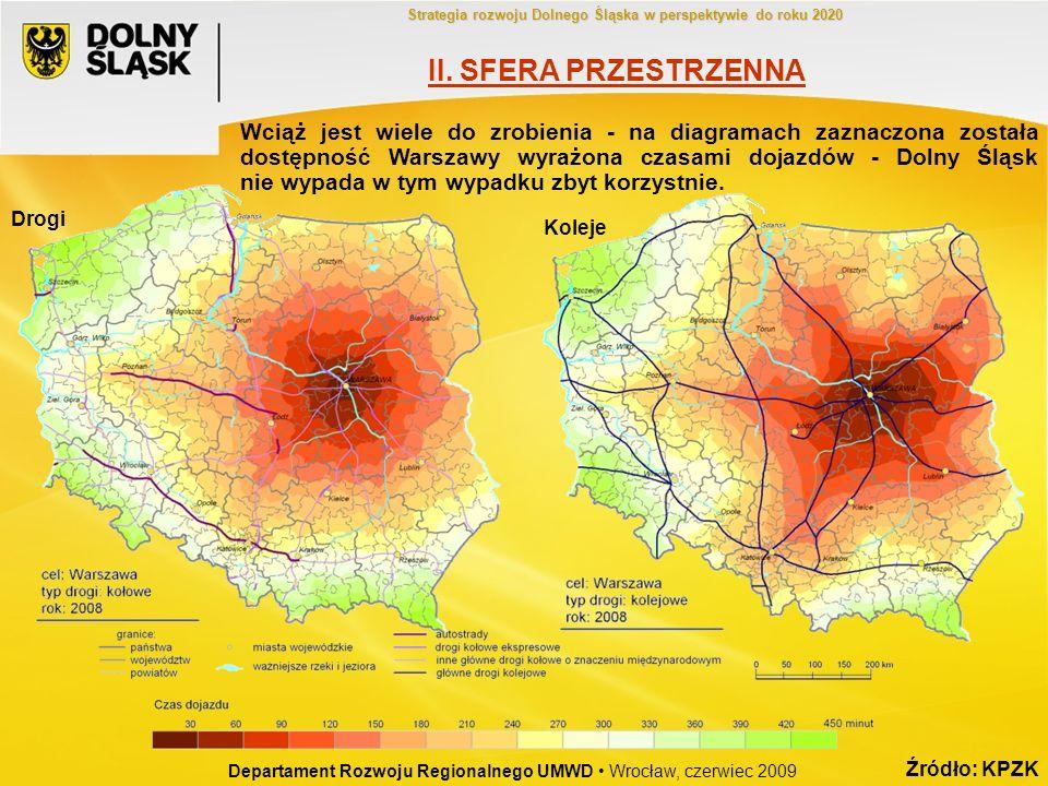 Źródło: KPZK Wciąż jest wiele do zrobienia - na diagramach zaznaczona została dostępność Warszawy wyrażona czasami dojazdów - Dolny Śląsk nie wypada w