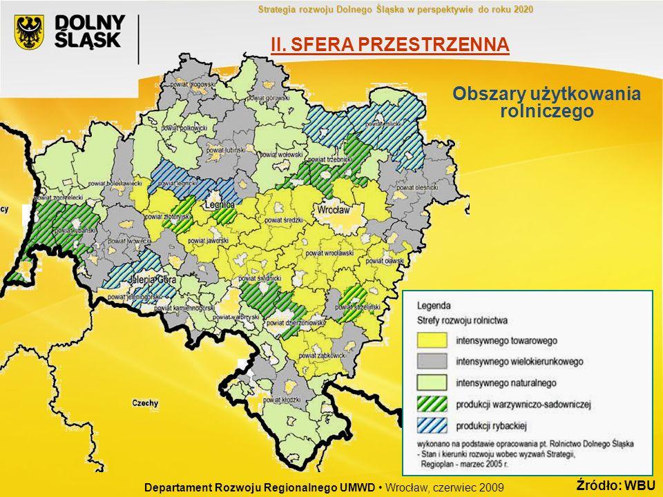 Źródło: WBU Obszary użytkowania rolniczego Departament Rozwoju Regionalnego UMWD Wrocław, czerwiec 2009 II. SFERA PRZESTRZENNA Strategia rozwoju Dolne