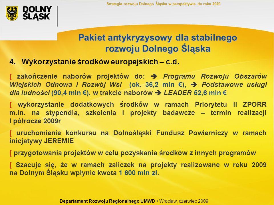 4. Wykorzystanie środków europejskich – c.d. [ zakończenie naborów projektów do: Programu Rozwoju Obszarów Wiejskich Odnowa i Rozwój Wsi (ok. 36,2 mln