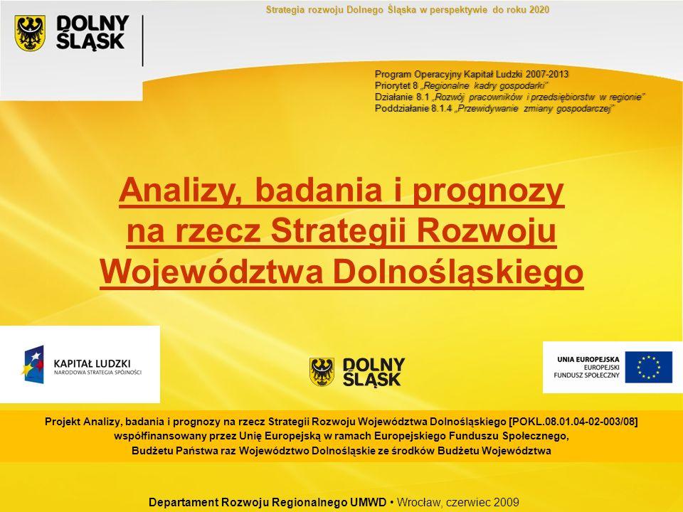 Departament Rozwoju Regionalnego UMWD Wrocław, czerwiec 2009 Strategia rozwoju Dolnego Śląska w perspektywie do roku 2020 Program Operacyjny Kapitał L