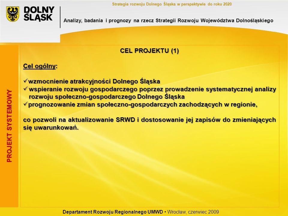 Departament Rozwoju Regionalnego UMWD Wrocław, czerwiec 2009 Strategia rozwoju Dolnego Śląska w perspektywie do roku 2020 CEL PROJEKTU (1) Cel ogólny:
