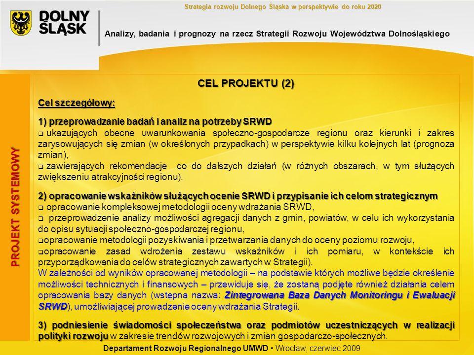 Departament Rozwoju Regionalnego UMWD Wrocław, czerwiec 2009 Strategia rozwoju Dolnego Śląska w perspektywie do roku 2020 PROJEKT SYSTEMOWY CEL PROJEK