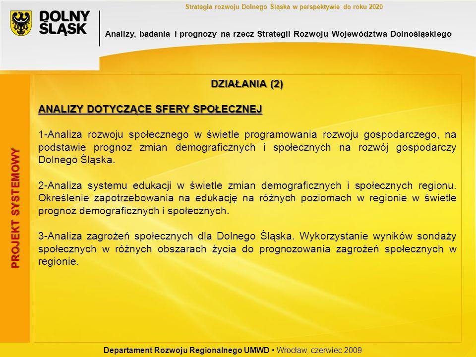 Departament Rozwoju Regionalnego UMWD Wrocław, czerwiec 2009 Strategia rozwoju Dolnego Śląska w perspektywie do roku 2020 PROJEKT SYSTEMOWY DZIAŁANIA