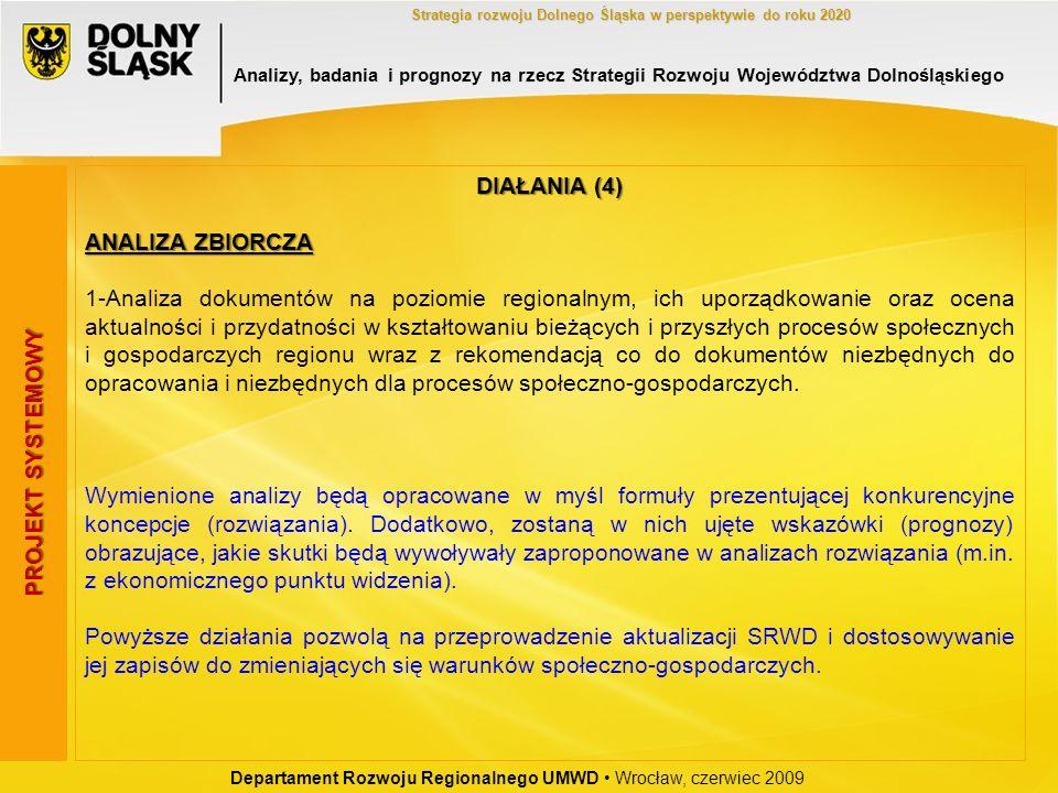Departament Rozwoju Regionalnego UMWD Wrocław, czerwiec 2009 Strategia rozwoju Dolnego Śląska w perspektywie do roku 2020 PROJEKT SYSTEMOWY DIAŁANIA (