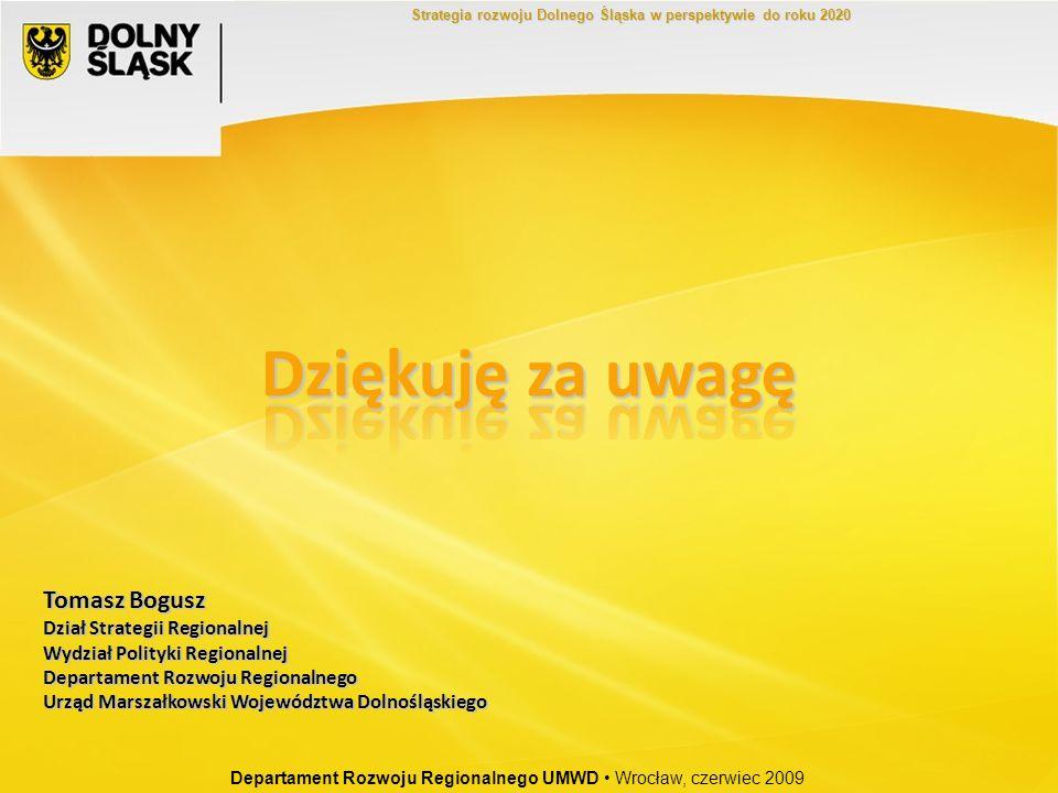 Departament Rozwoju Regionalnego UMWD Wrocław, czerwiec 2009 Strategia rozwoju Dolnego Śląska w perspektywie do roku 2020 Tomasz Bogusz Dział Strategi