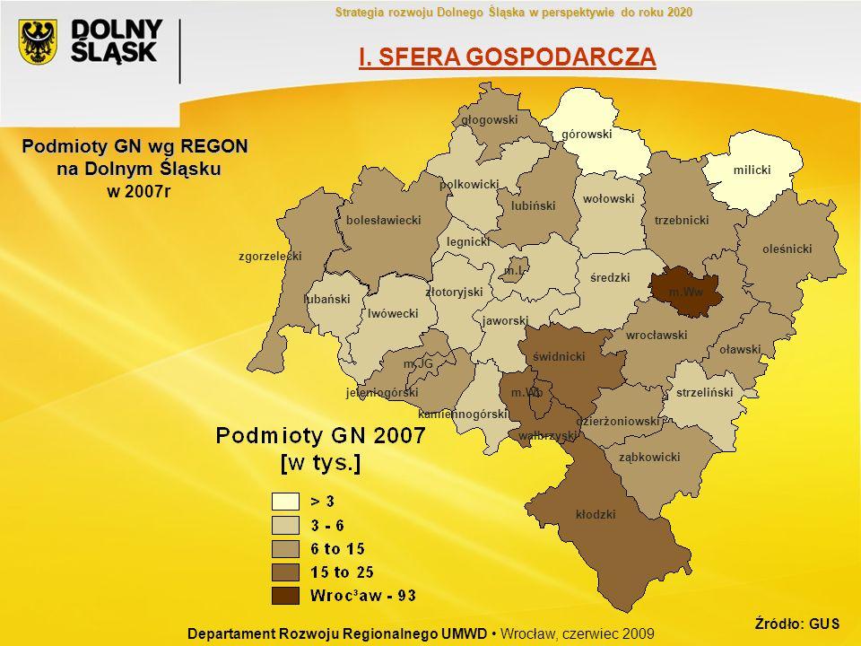 Podmioty GN wg REGON na Dolnym Śląsku w 2007r bolesławiecki dzierżoniowski głogowski górowski jaworski jeleniogórski kłodzki kamiennogórski legnicki l