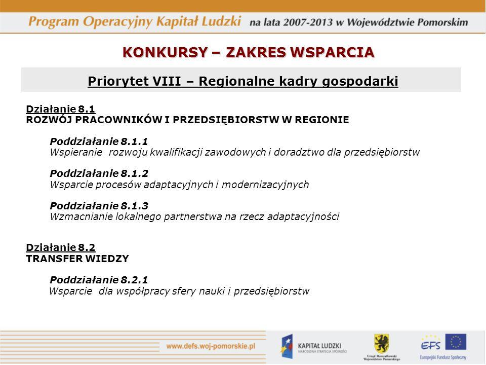 Priorytet VIII – Regionalne kadry gospodarki Priorytet VIII – Regionalne kadry gospodarki Działanie 8.1 ROZWÓJ PRACOWNIKÓW I PRZEDSIĘBIORSTW W REGIONI