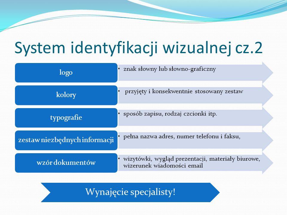 System identyfikacji wizualnej cz.2 znak słowny lub słowno-graficzny logo przyjęty i konsekwentnie stosowany zestaw kolory sposób zapisu, rodzaj czcio