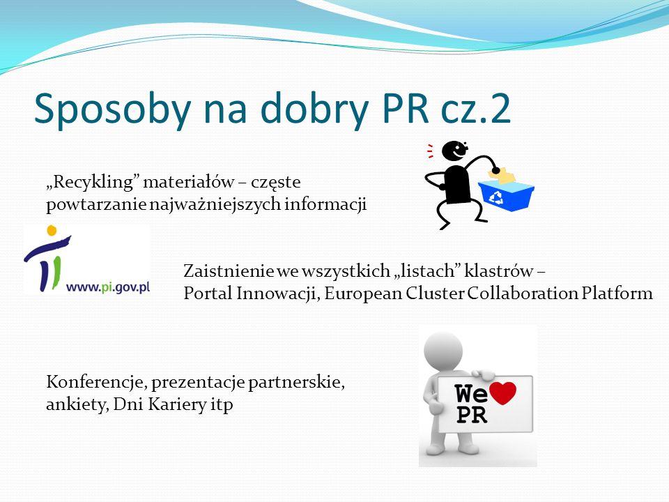 Sposoby na dobry PR cz.2 Recykling materiałów – częste powtarzanie najważniejszych informacji Zaistnienie we wszystkich listach klastrów – Portal Inno