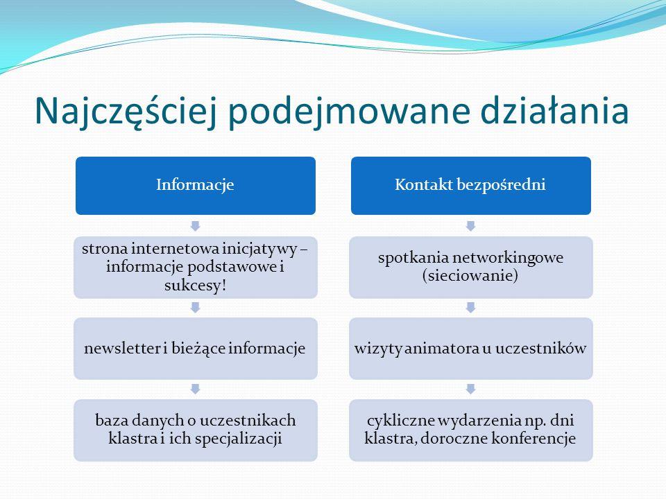 Najczęściej podejmowane działania Informacje strona internetowa inicjatywy – informacje podstawowe i sukcesy! newsletter i bieżące informacje baza dan