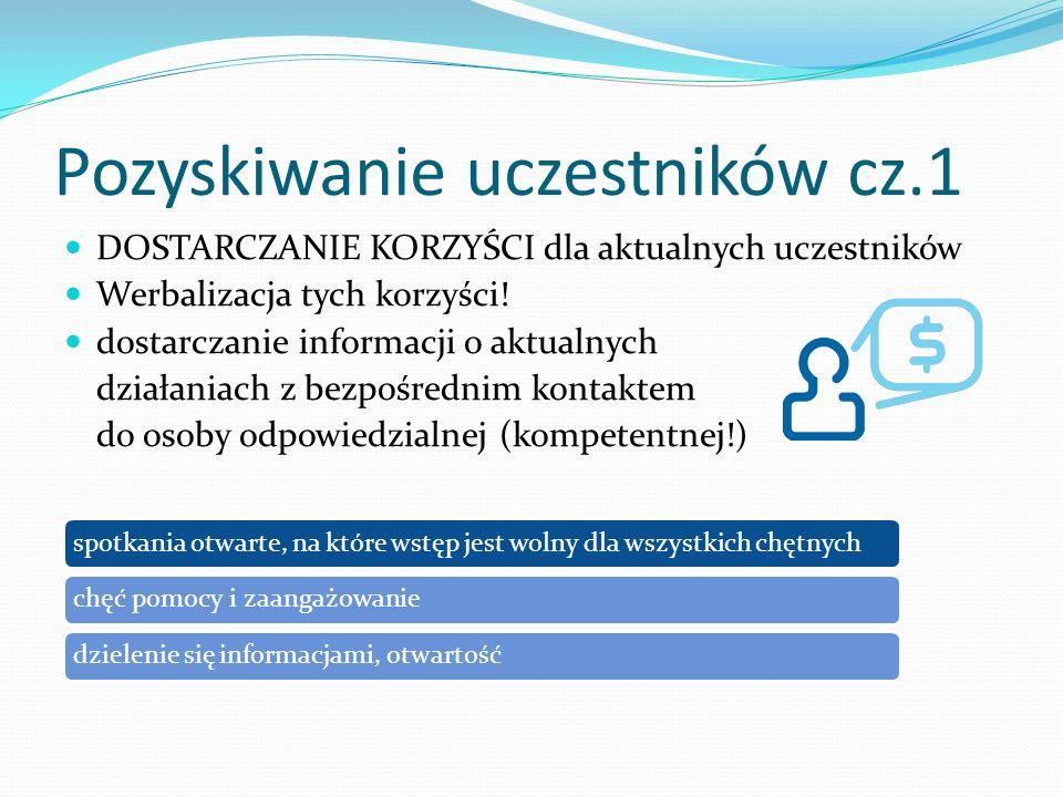 Pozyskiwanie uczestników cz.1 DOSTARCZANIE KORZYŚCI dla aktualnych uczestników Werbalizacja tych korzyści! dostarczanie informacji o aktualnych działa