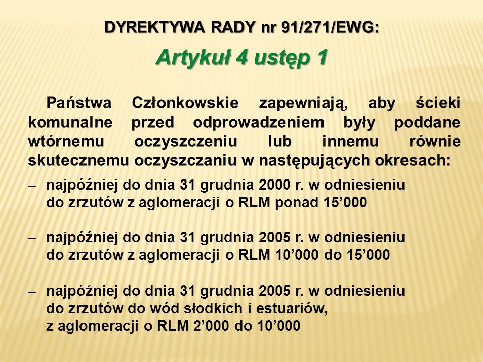 DYREKTYWA RADY nr 91/271/EWG: –najpóźniej do dnia 31 grudnia 2000 r. w odniesieniu do zrzutów z aglomeracji o RLM ponad 15000 –najpóźniej do dnia 31 g