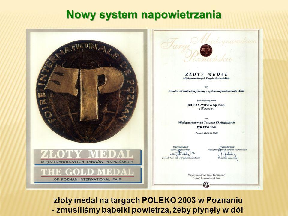 złoty medal na targach POLEKO 2003 w Poznaniu - zmusiliśmy bąbelki powietrza, żeby płynęły w dół Nowy system napowietrzania