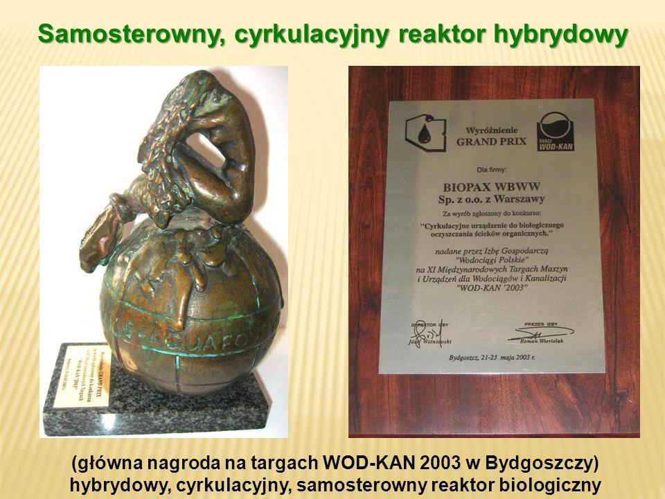 (główna nagroda na targach WOD-KAN 2003 w Bydgoszczy) hybrydowy, cyrkulacyjny, samosterowny reaktor biologiczny Samosterowny, cyrkulacyjny reaktor hyb