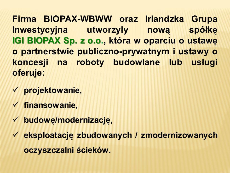 IGI BIOPAX Sp. z o.o Firma BIOPAX-WBWW oraz Irlandzka Grupa Inwestycyjna utworzyły nową spółkę IGI BIOPAX Sp. z o.o., która w oparciu o ustawę o partn