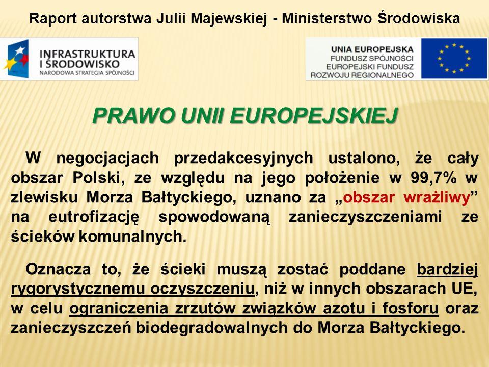 PRAWO UNII EUROPEJSKIEJ W negocjacjach przedakcesyjnych ustalono, że cały obszar Polski, ze względu na jego położenie w 99,7% w zlewisku Morza Bałtyck